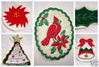 Holiday Christmas Appliques Iron On Tree Bell Holly Leaf Poinsetta Cardinal
