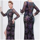 NWT PRIMAVERA COUTURE 9844A  LONG SLEEVE SHEER BACK SQUIN GOWN $432 AUTENTIC229