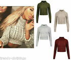 New Womens High Polo Neck Chunky Cable Knitted Jumper Crop Pullover Sweater Top