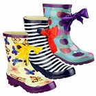Ladies New Striped, Butterfly Or Apple Print Ribbon Wellington Welly Boots 4 - 7