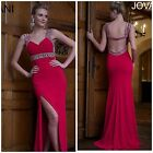 NWT JOVANI 93145 Fuchsia Beaded Long Sexy Slit with open back /celebrity/ $598
