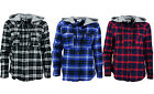 Women's Plaid Long Sleeve Button down casual hood shirt