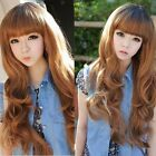 Long Wavy Curly Fluffy Womens Girls with Fringe Hair Full Wigs Fashion 4 Colors