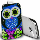 pu leather pull tab pouch case for most Mobiles - blue mozaic owl pouch