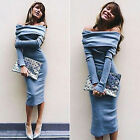 Womens Winter Sexy Off Shoulder Party Long Sleeve Midi Bodycon Sweater Dress Top
