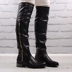 Womens Black Faux Leather Flat Round Toe Riding Boot Ladies Buckle Zip Over Knee