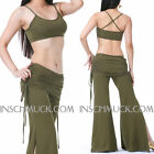 C825 Belly Dancing Costume with 2 Pieces Upper Top + Trousers Exercise
