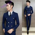 T06 Men's Casual Checked Lapel Double Breasted Formal Wedding Prom 3 Piece Suit