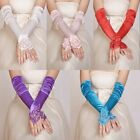 New Wedding Gloves Girls Evening Party Fingerless Pearl Satin Lace Bridal Glove