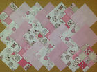 COTTON FABRIC PATCHWORK SQUARES PIECES CHARM PACK 2, 4 & 5 INCH ~ TEDDIES PINK