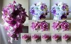 Lavender Lilac Ivory White Rose Tiger Lily Cascading Bridal Bouquet Package
