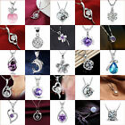 New Women Lady 925 Sterling Silver Chain Crystal Rhinestone Necklace Pendant