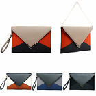 Womens Leather Style Patchwork Color Envelope Evening Party Clutch Bag Purse