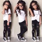 Toddler Kids Baby Girls Outfits Clothes Short Sleeve T-shirt Tops+Pants 2PCS Set