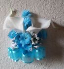 Ivory Calla Lily Turquoise Babys Breath Corsage