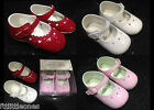BABY GIRLS PATENT PRAM STRAP SHOES,HEART PUNCH,CHRISTENING BAPTISM WEDDING PARTY