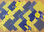 BLUE / YELLOW ~ COTTON FABRIC PATCHWORK SQUARES PIECES CHARM PACK 2 4 5 INCH