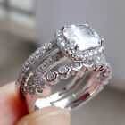 White Sapphire CZ 925 Sterling Silver Engagement Wedding Ring Band Set Size 5-10