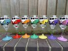Hand Painted Wine Glass  VW Camper Van Split Screen personalised christmas gift
