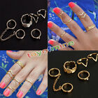 New 6pcs / Set Rings Gold Urban Crystal Above Knuckle stacking Band Midi Ring