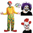 Killer Clown Set ~ Rainbow Clown Costume plus Choice of Horror Mask! Halloween