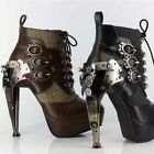 Wicked Steampunk Platform Ankle Bootie Sizes 6-11 Hades Oxford FREE USA Ship