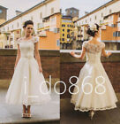 2016 Cap Sleeves Tea Length Short Weddign Dress Bridal Gowns Deb Party Dress