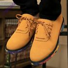 Fashion Mens Casual Lace Up Faux Suede Lace Up Flats British Colors Sole Shoes