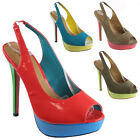 NEW WOMENS LADIES STILETTO HIGH HEEL PLATFORM PEEP TOE PARTY COURT SHOES SIZE
