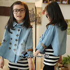 2016 Spring Kids Toddlers Girl Princess Bat-wing Sleeve PU Jeans Cloak Coat 3-8Y