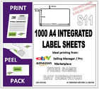 1000 EBAY & AMAZON INTEGRATED LABELS (S11) POST PACK ADDRESS LABEL A4