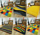 MULTI COLOURED FUNKY BRIGHT MODERN THICK SOFT HEAVY YELLOW SHAGGY AREA RUG MAT