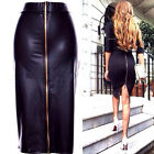 Sexy Bodycon Back Zip Up Evening Party Cocktail Midi New Pu Leather Skirt Dress