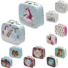 Set Of 2 Storage Cases -Boxes Mini Suitcases Craft Trinket Keepsake Canvas Style
