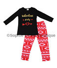 NWOT Toddler Girls Valentine Baby Pink Black Boutique Aztec Geometric Outfit tee