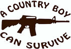 """A COUNTRY BOY CAN SURVIVE"" w/ AR15  Vinyl Decal  U Pick Size & Color(23 differ)"