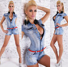Sexy Womens Wash Blue Playsuit Jumpsuit Overall Hotpants Incl.Belt G 460