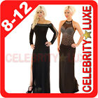 New Black Long Maxi Dress Diamontes Rhinestone Formal Cocktail Event Formal Club