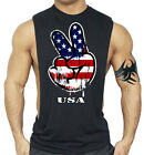 New US Flag Peace Black Workout Vest Tank Top shirt Muscle american mma fighting