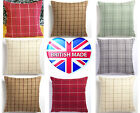 """Scottish Tartan Check 5 Colours Wool Effect Complete Cushion Filled 17"""" x 17"""""""
