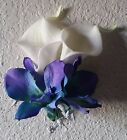 Real Touch Calla Lily Turquoise Purple Orchid Corsage or Boutonniere