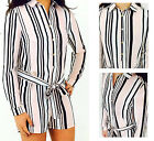 New Womens Ladies Stripe Print Front Tie Long Sleeve Collared Playsuit 8-16