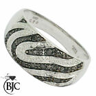 BJC® 9ct White gold black & white Diamond 0.16ct size I - P Zebra Wave ring R101