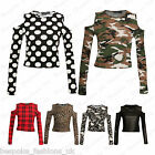 Ladies Womens Long Sleeve Shoulder Cut Out TartanArmyPolka Dot Crop Top 8 14