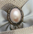 PEARL FINISH CABOCHON ON ANTIQUE BRASS FINISH HATPIN - Ladies Hat pin
