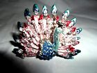 LARGE PEACOCK BIRD RING BLUE YELLOW AUSTRIAN CRYSTALS SILVERTONE SIZE 8.5 NEW