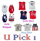 Bodysuit Shirt July 4th Red White Blue Patriotic Girls Boys American Fourth Top