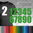"""Iron-on Plain Solid SPORT Numbers Transfer Size 9"""" Vinyl for T-Shirt Football"""