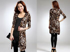Womens Leopard Print Loose Cardigan Jumper Sweater size fit 8/10/12 NEW