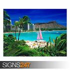 WAIKIKI OAHU HAWAII (3289) Beach Poster - Photo Poster Print Art A0 A1 A2 A3 A4